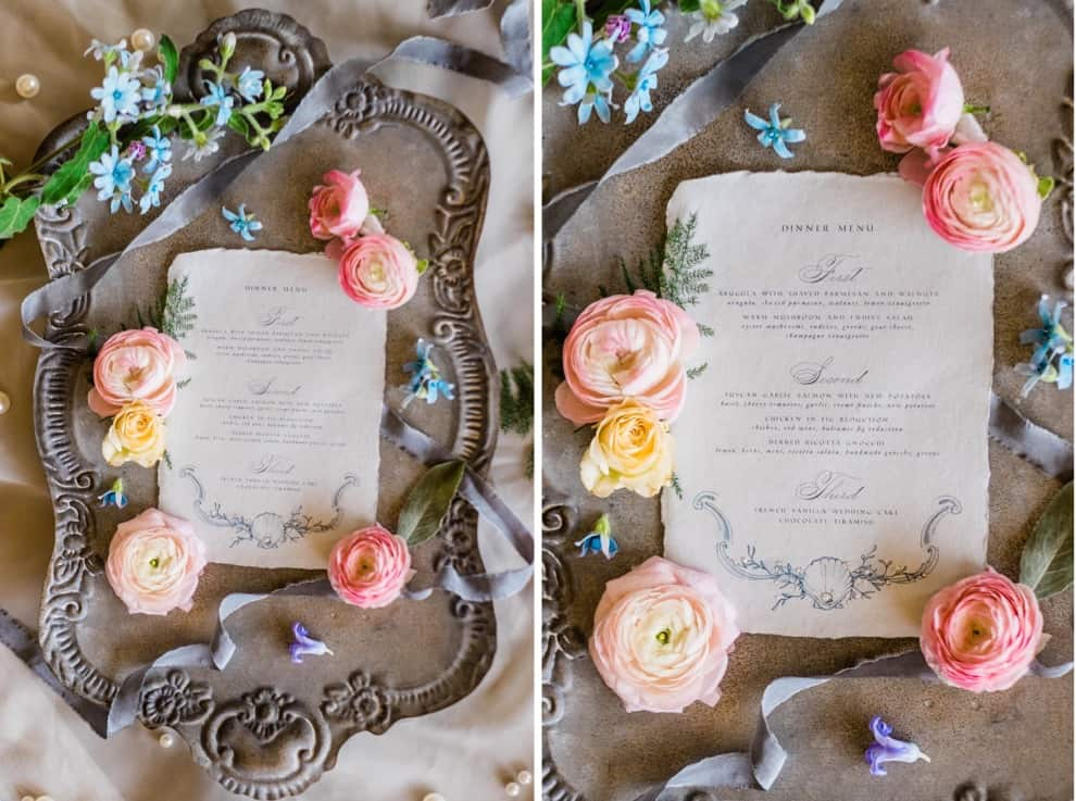 elegant wedding dinner menus and florals