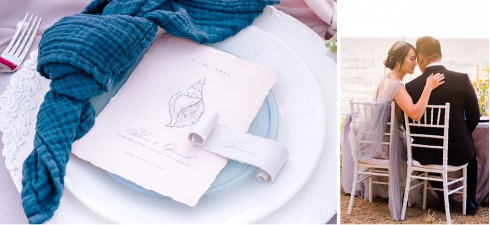 ocean inspired table setting at California elopement