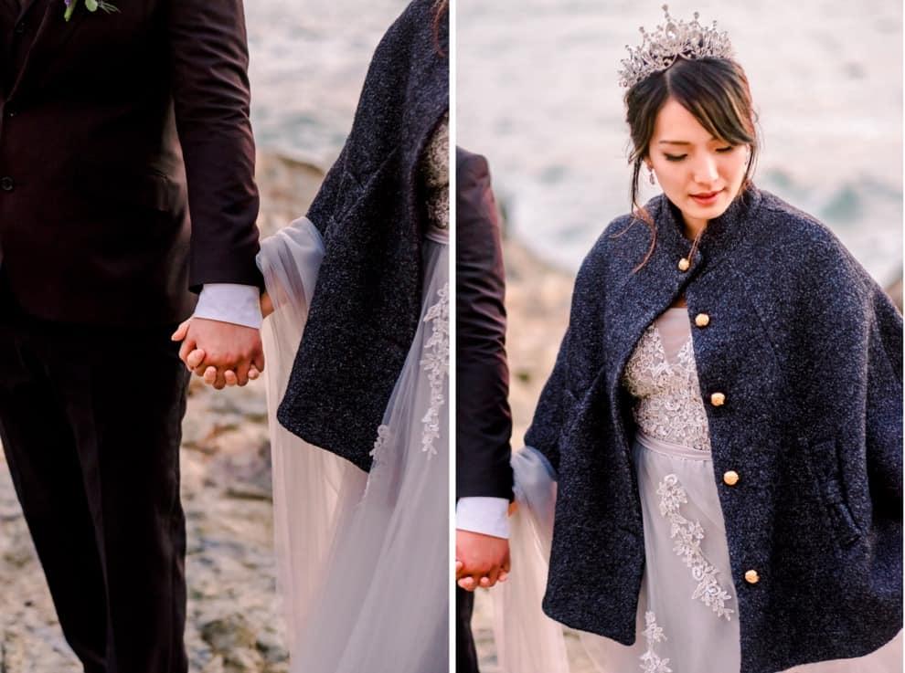 bride and groom walk hand in hand after oceanside California elopement